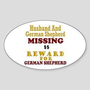 Husband & German Shepherd Missing Oval Sticker