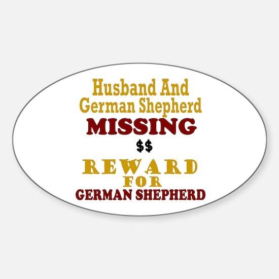 Husband & German Shepherd Missing Oval Decal