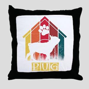 Retro Distressed Vintage Pug Design f Throw Pillow