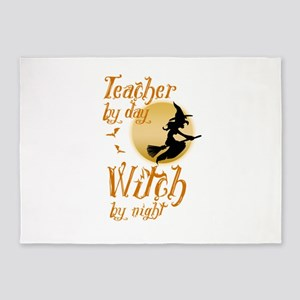 Teacher By Day Witch By Night Hallo 5'x7'Area Rug
