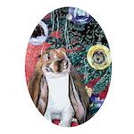 Susie Rabbit's Christmas Oval Ornament