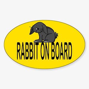 Rabbit on board Oval Sticker