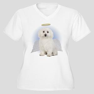 Angel Bichon Frise Women's Plus Size V-Neck T-Shir