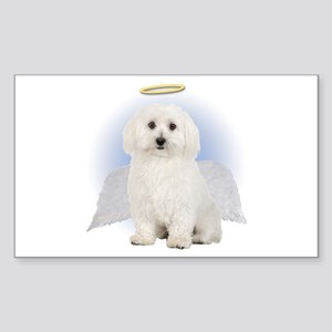 Angel Bichon Frise Rectangle Sticker