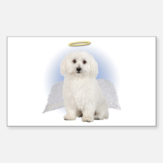 Angel Bichon Frise Rectangle Decal