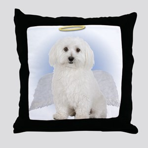 Angel Bichon Frise Throw Pillow