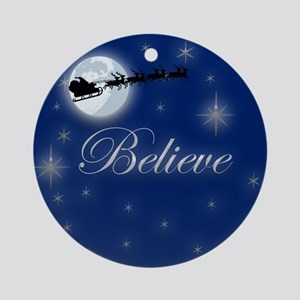 Glowing Believe Christmas Ornament (Round)