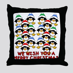 Baby Penguins Merry Christmas Throw Pillow