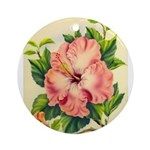 Pink Hibiscus Beautiful Painting Print Round Ornam