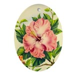 Pink Hibiscus Beautiful Painting Print Oval Orname
