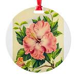 Pink Hibiscus Beautiful Painting Print Round Ornam
