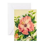 Pink Hibiscus Beautiful Painting Print Greeting Ca