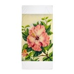 Pink Hibiscus Beautiful Painting Print Beach Towel
