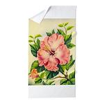 Pink Hibiscus Beautiful Painting Print Beach Towel