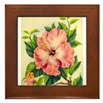 Pink Hibiscus Beautiful Painting Print Framed Tile
