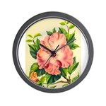 Pink Hibiscus Beautiful Painting Print Wall Clock