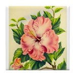 Pink Hibiscus Beautiful Painting Print Tile Coaste