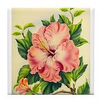 Pink Hibiscus Beautiful Painting Print Tile Coaste