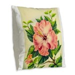 Pink Hibiscus Beautiful Painting Print Burlap Thro