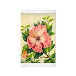 Pink Hibiscus Beautiful Painting Print Area Rug