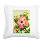 Pink Hibiscus Beautiful Painting Print Square Canv