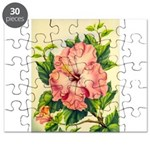 Pink Hibiscus Beautiful Painting Print Puzzle