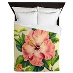 Pink Hibiscus Beautiful Painting Print Queen Duvet
