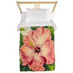 Pink Hibiscus Beautiful Painting Print Twin Duvet