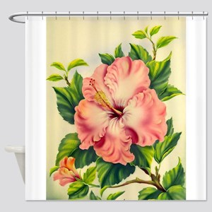 Pink Hibiscus Beautiful Painting Print Shower Curt