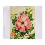 Pink Hibiscus Beautiful Painting Print Throw Blank