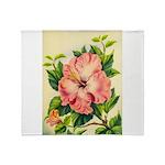 Pink Hibiscus Beautiful Painting Print Throw Blank