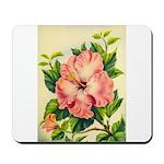 Pink Hibiscus Beautiful Painting Print Mousepad