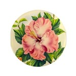 Pink Hibiscus Beautiful Painting Print Button