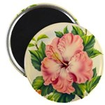 Pink Hibiscus Beautiful Painting Print Magnets
