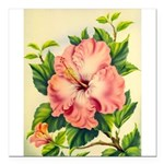 Pink Hibiscus Beautiful Painting Print Square Car