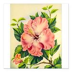 Pink Hibiscus Beautiful Painting Print Square Car