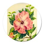 Pink Hibiscus Beautiful Painting Print Round Car M