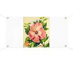 Pink Hibiscus Beautiful Painting Print Banner