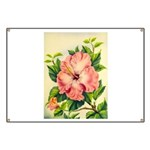 Pink Hibiscus Beautiful Painting Print Banner