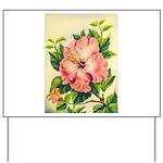 Pink Hibiscus Beautiful Painting Print Yard Sign