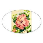Pink Hibiscus Beautiful Painting Print Sticker