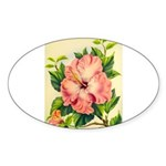 Pink Hibiscus Beautiful Painting Print Sticker