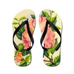 Pink Hibiscus Beautiful Painting Print Flip Flops