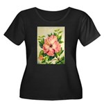 Pink Hibiscus Beautiful Painting Print Plus Size T