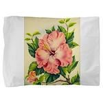 Pink Hibiscus Beautiful Painting Print Pillow Sham