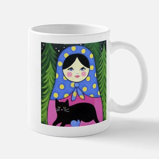 Matryoshka Babushka Girl Doll Cat Folk ART Mug