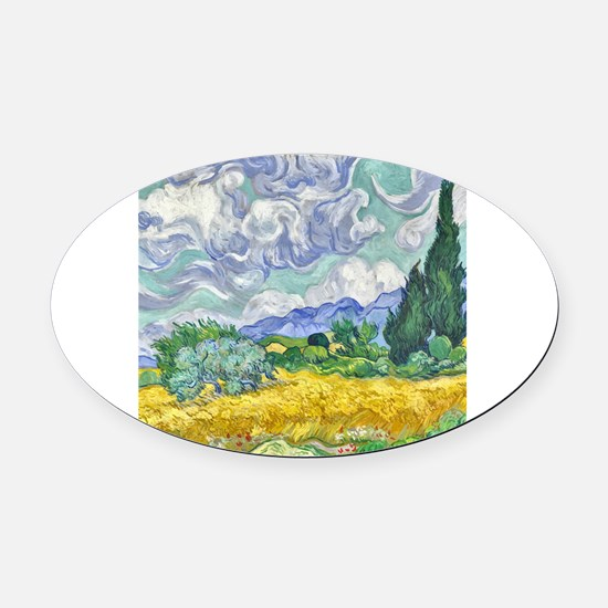 Cute Wheat fields Oval Car Magnet