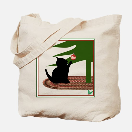 Funny Cat Lovers Christmas Canvas Tote Bag