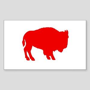 Red Buffalo Rectangle Sticker