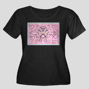 Flying Hearts Women's Plus Size Scoop Neck Dark T-